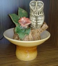 Декоративен фонтан Сова от керамика